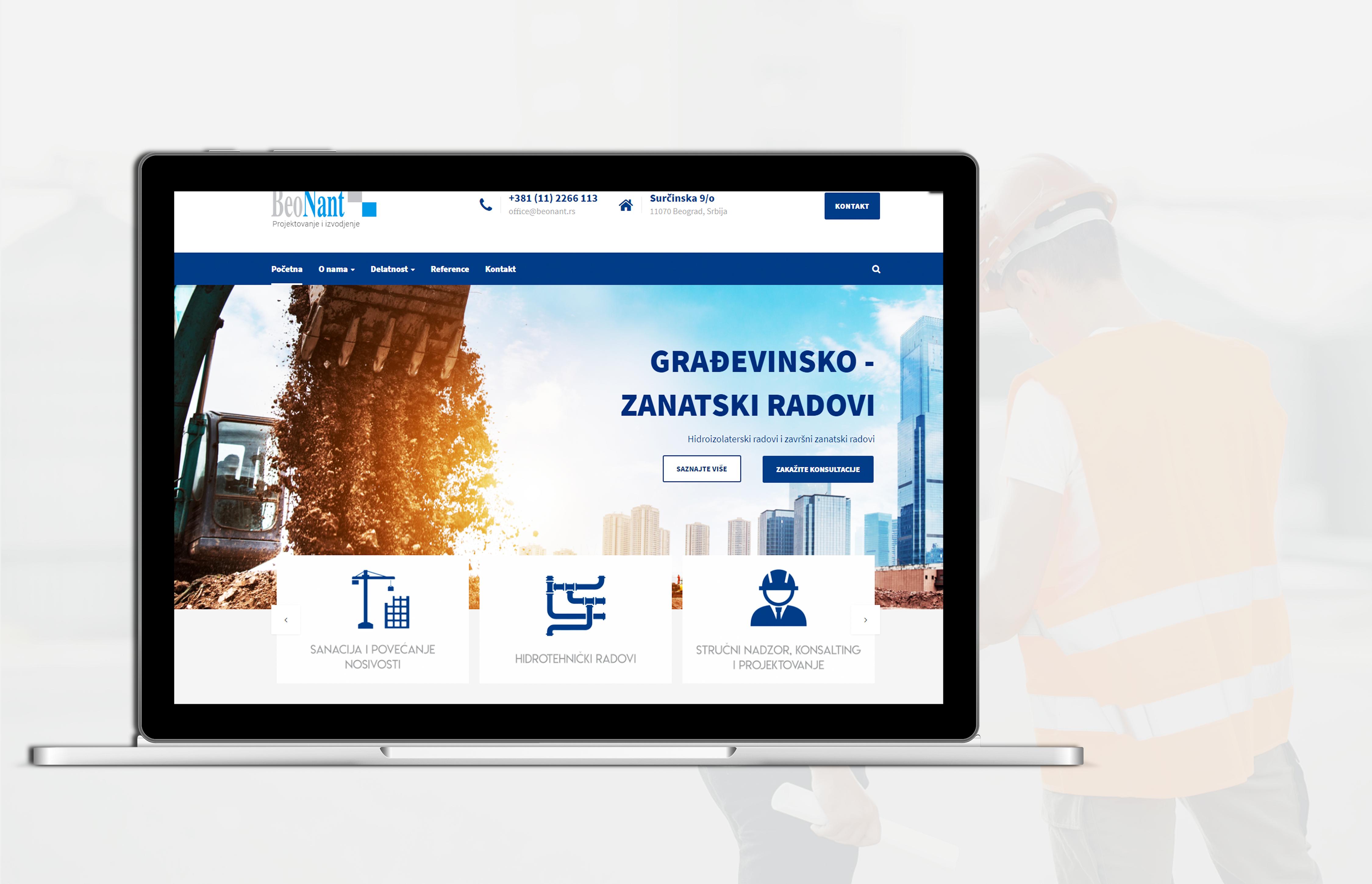 Izrada WordPress sajta za gradjevinsku firmu